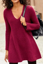 Solid V-neck Knitted Sweater Top