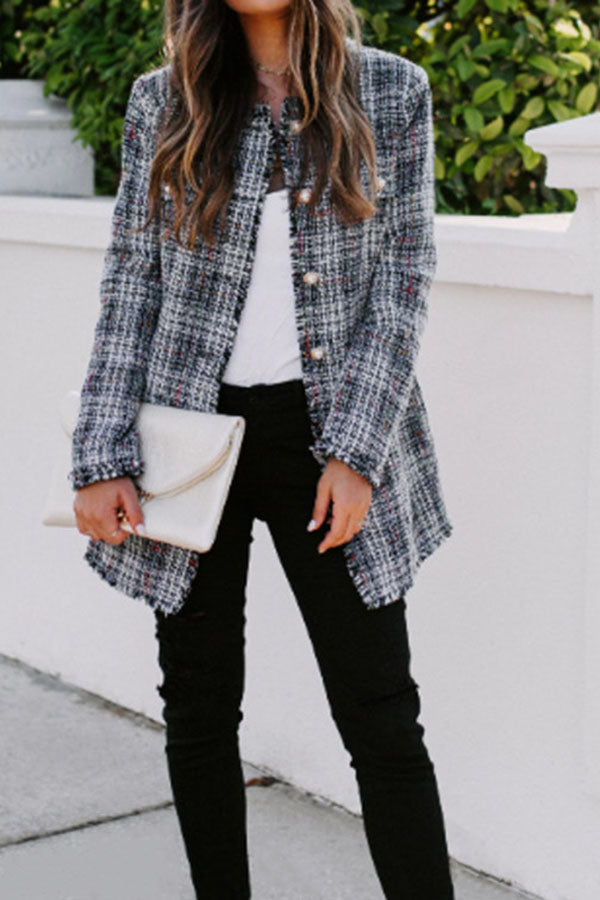 Paneled Plaid Print Buttoned Pockets Casual Coat