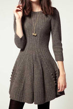 Solid Pleated Ribbed Knitted A-line Sweater Dress