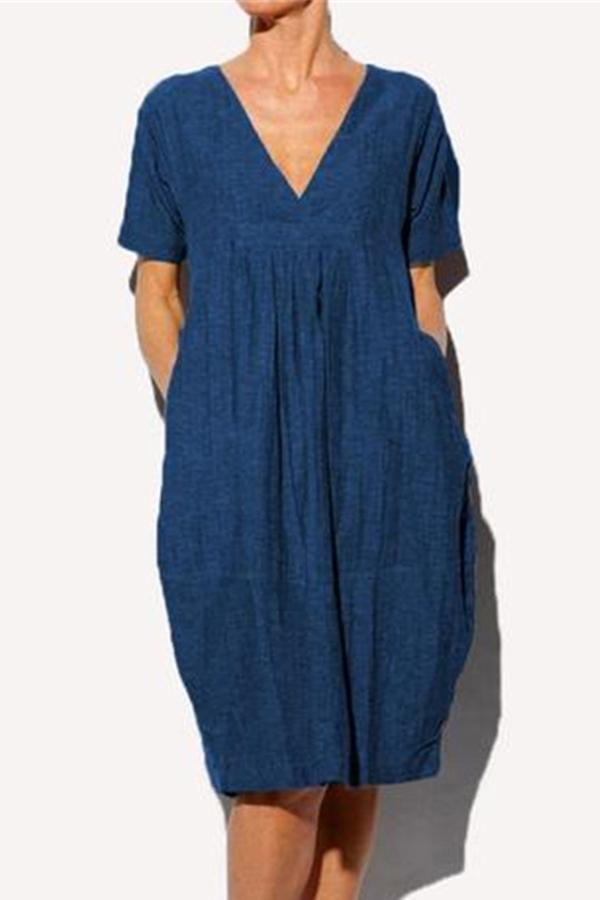 V Neck Side Pockets Folds Solid Casual Midi Dress