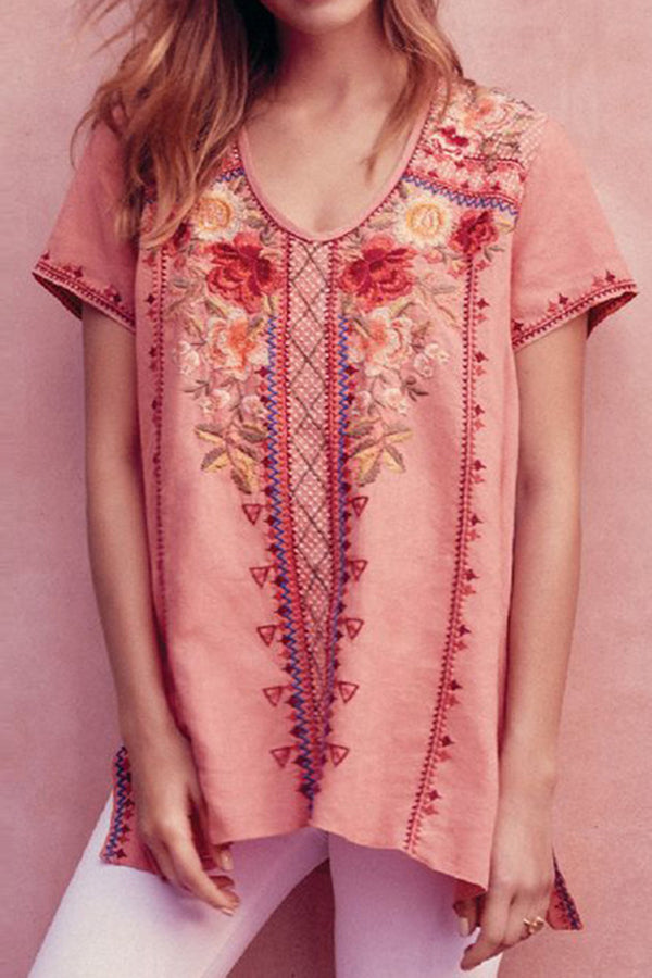 Floral Embroidery Casual Slit T-shirt
