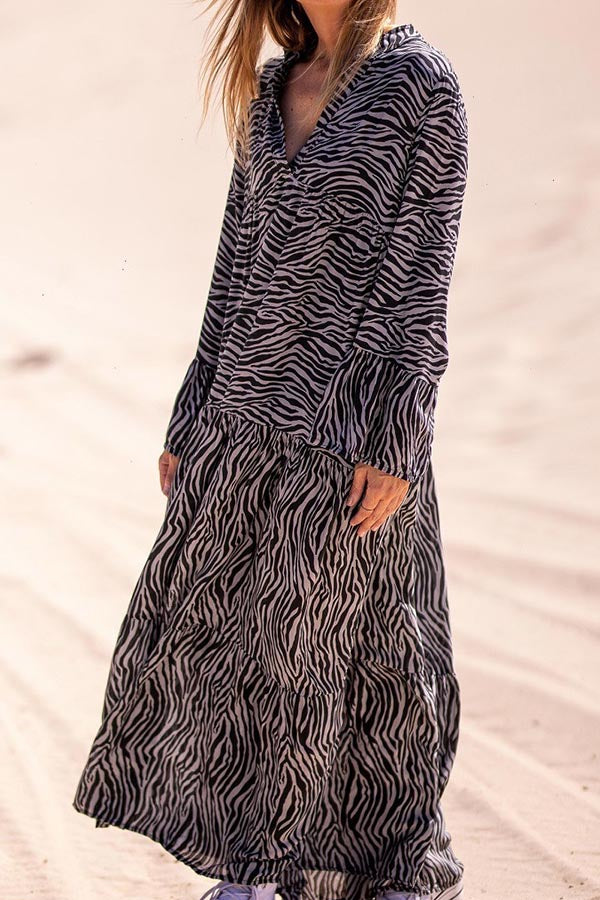 Zebra Print V-neck Holiday Paneled Maxi Dress