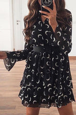 Crescent Print Paneled Ruffled Elegant Mini Dress