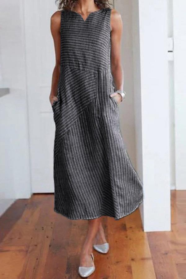 Casual Side Pockets V Neck Striped Midi Dress