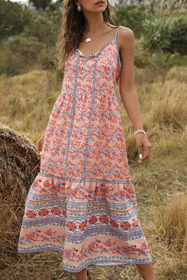 Bohemian Floral Print Sling Holiday Midi Dress