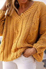 Knitted Ribbed V-neck Casual Solid Sweater