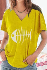 Fish Bone Print V-neck Casual Short Sleeve T-shirt