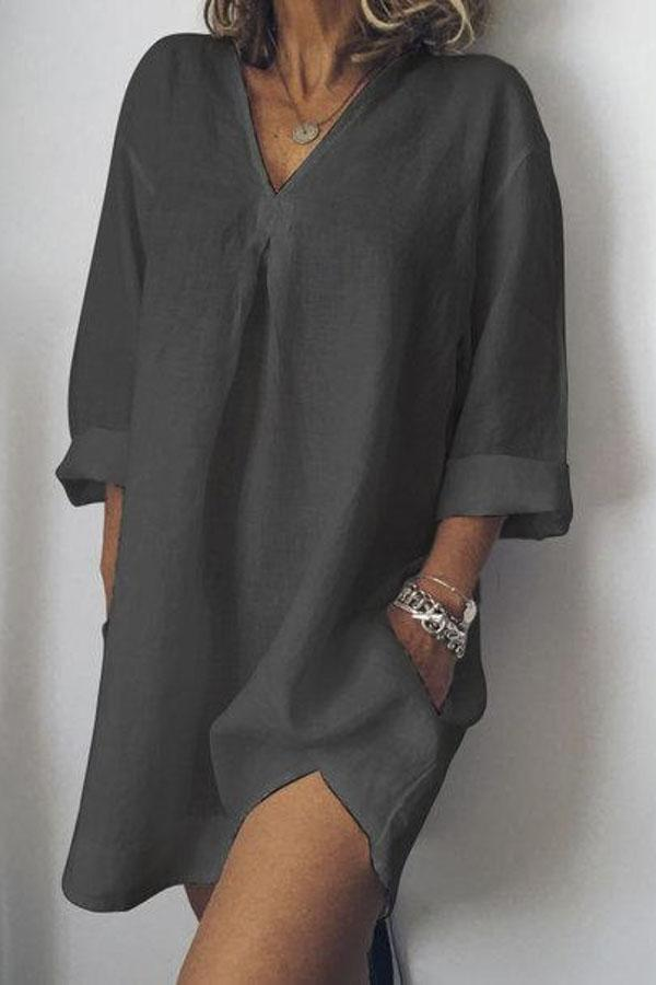 3/4 Sleeves Side Pockets Casual Shirt Dress