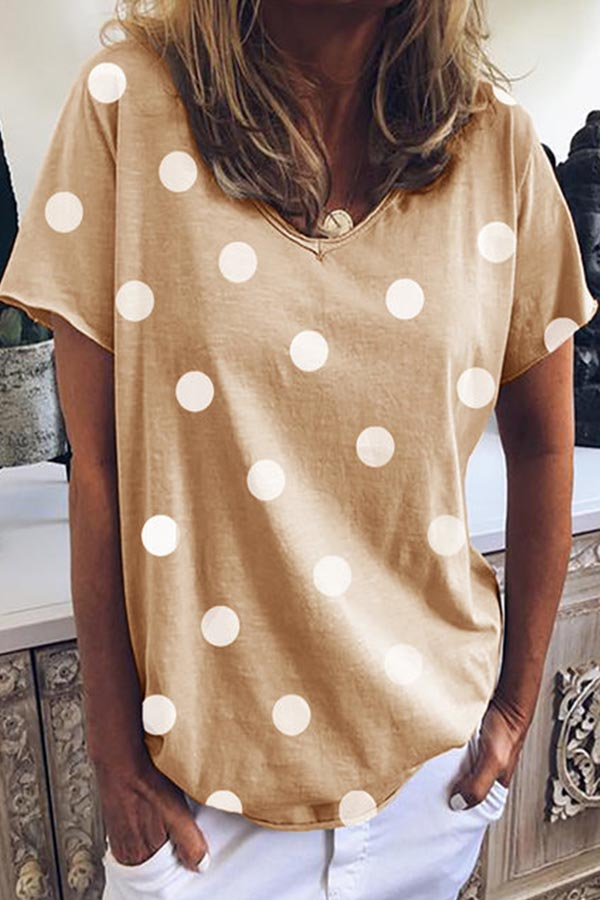 Polka Dots Print V-neck Casual T-shirt