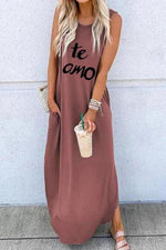 Letter Print Sleeveless Casual Pockets Maxi Dress