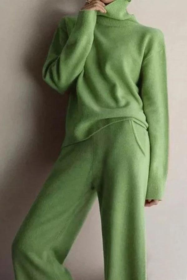 Casual Solid High Neck Knitted Two Pieces Set