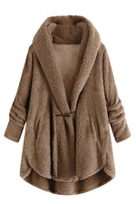 Solid Horn Buckle Lapel Casual Fuzzy Hooded Coat