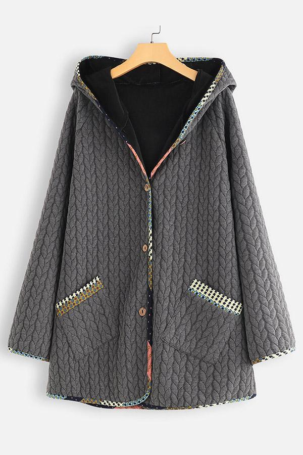 Buttoned Shift Warm Hooded Coat