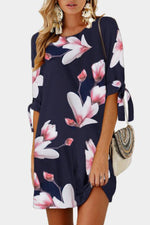 Floral Print Drawstring Elegant Mini Dress