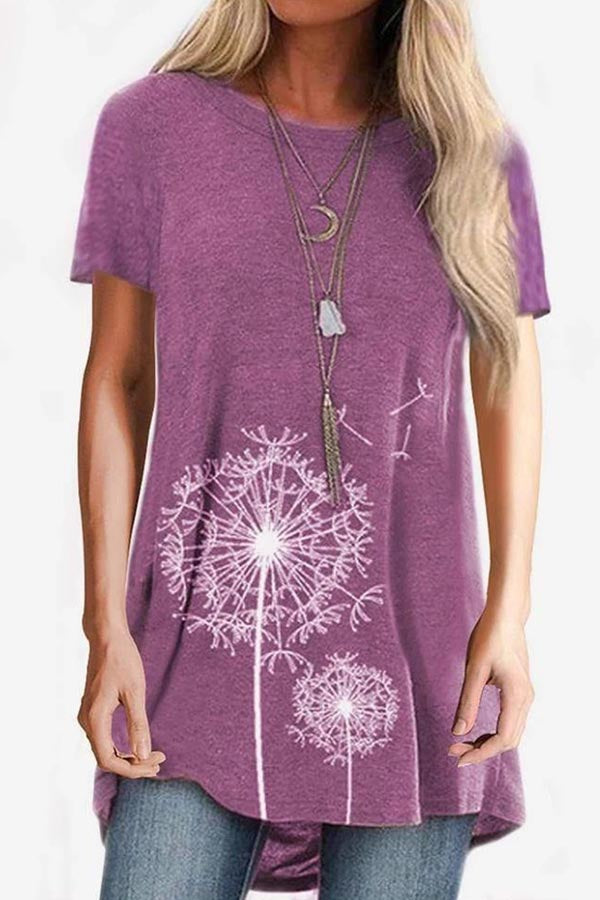 Dandelion Print Short Sleeve Casual T-shirt