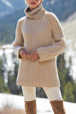 Solid Hollow Out Turtleneck Casual Knitted Sweater