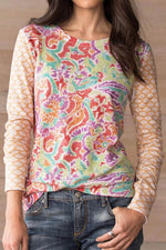 Paneled Floral Print Crew Neck Casual T-shirt