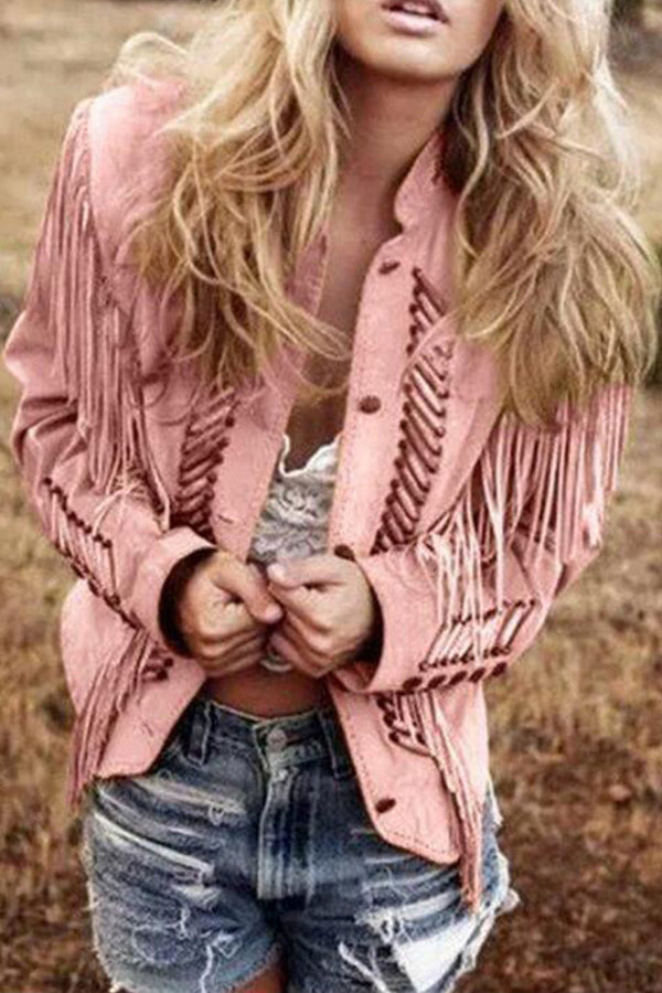 Tassel Buttons Down Solid Stand Collar Street Coat