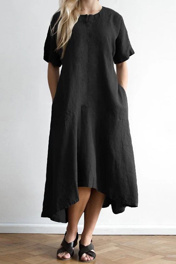 Solid Short Sleeves Irregular Hem Midi Dress