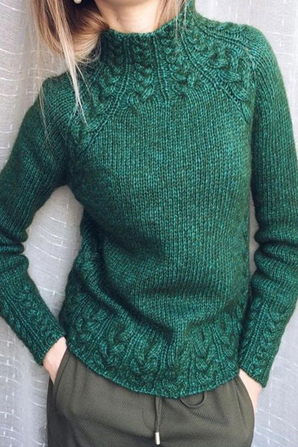 Solid Roll Neck Thread Knitted Sweater