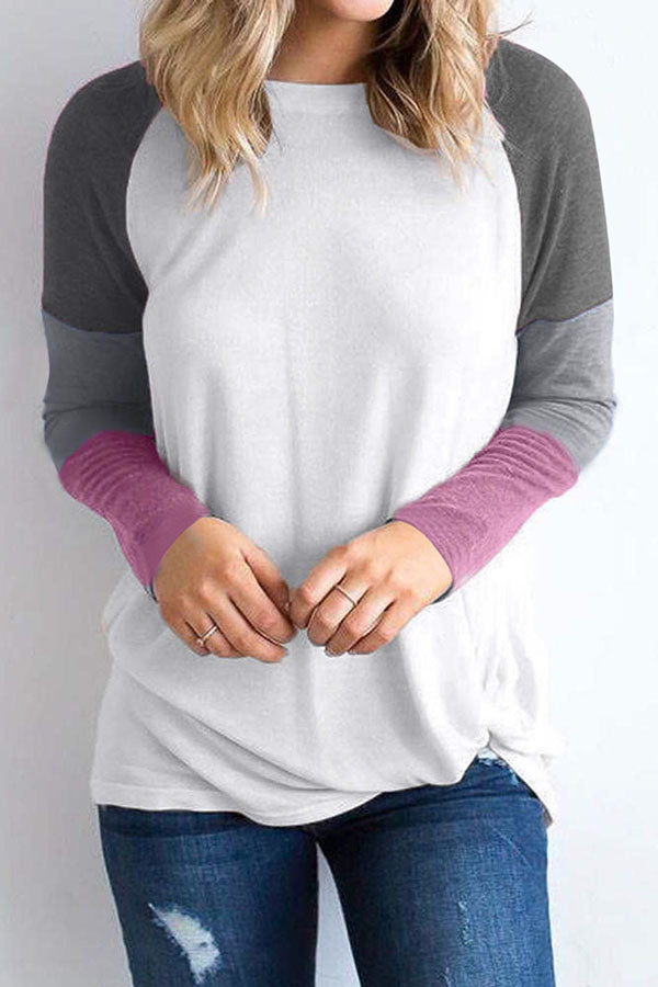 Paneled Color-block Casual Crew Neck T-shirt