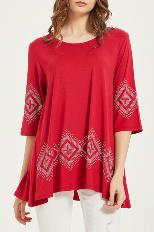 Geometric Print Casual Half Sleeve T-shirt