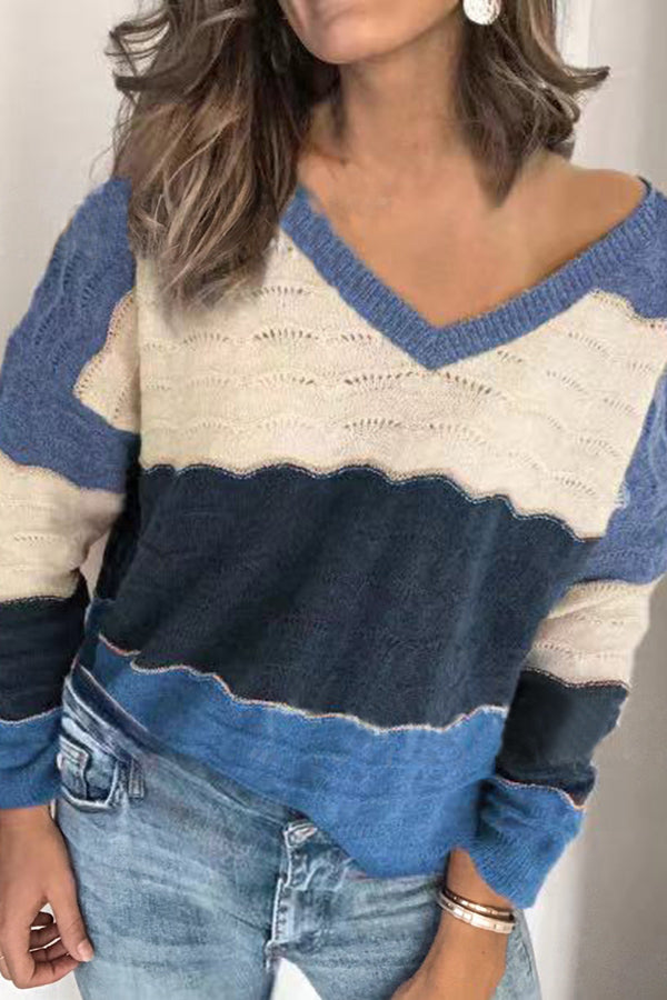 Casual Paneled Color-block V-neck Knitted Sweater