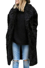 Long Sleeves Pocktes Lapel Fluffy Solid Coat