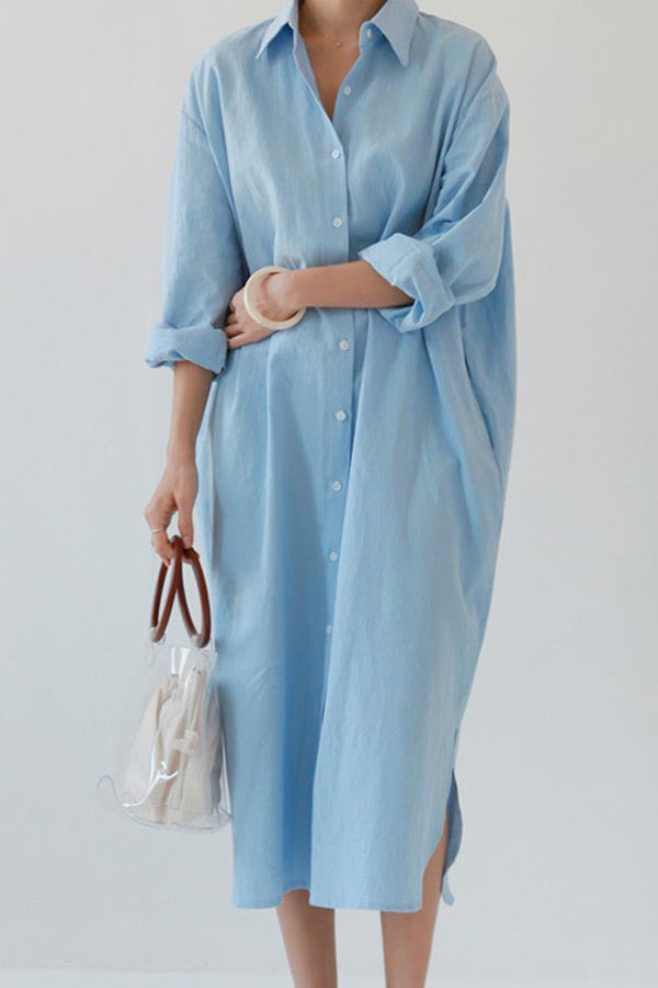 Solid Buttons Down Pockets Casual Slit Midi Dress
