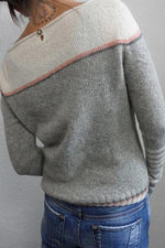 Color-block Long Sleeves Striped Crew Neck Sweater