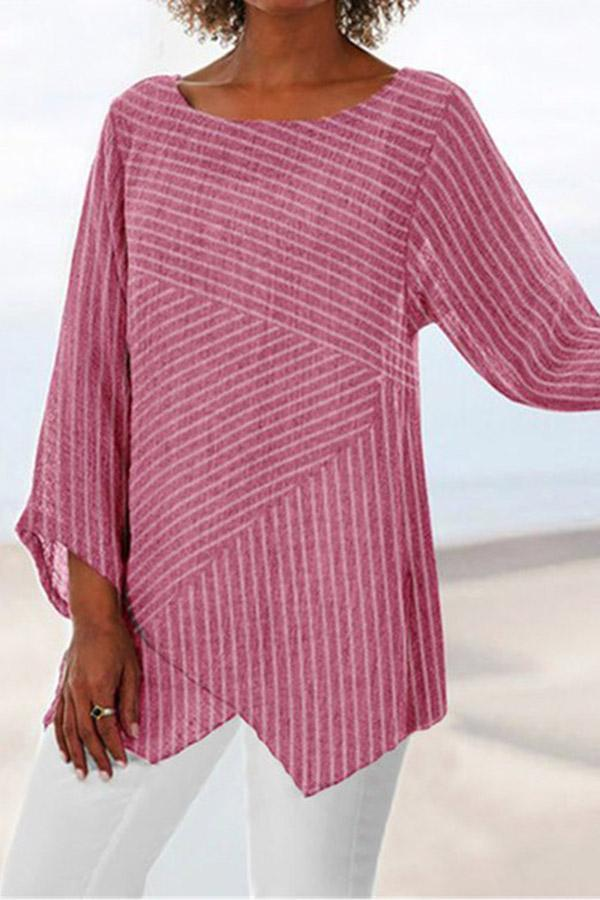 Striped Crew Neck Paneled Irregular Hem Blouse