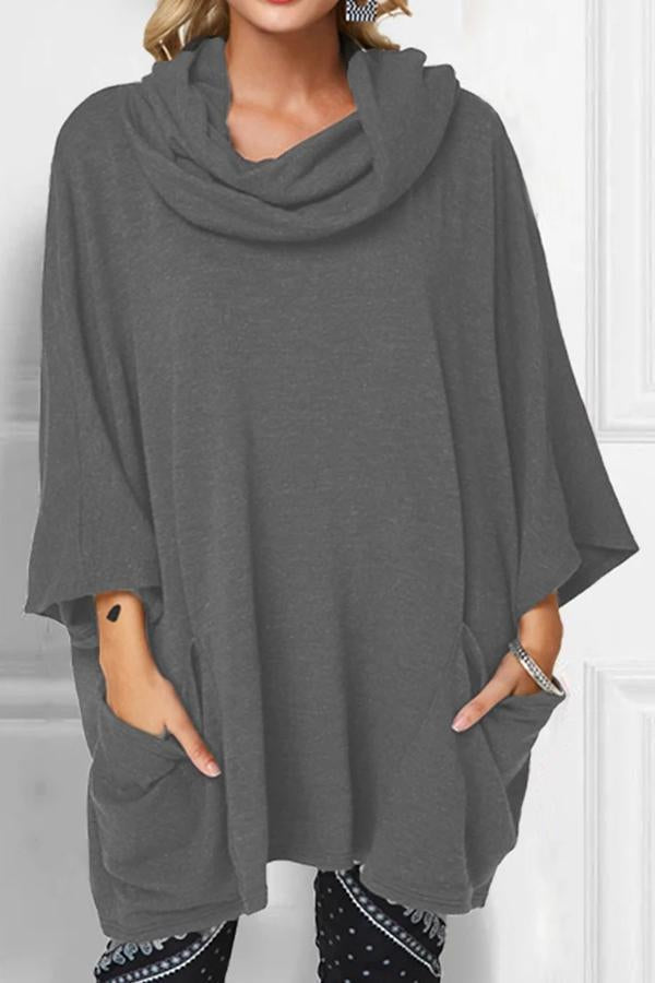 Loose Cowl Neck Solid Side Pockets T-shirts