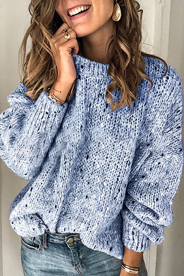Solid Crew Neck Knitted Casual Sweater