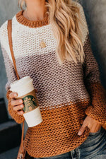 Color-block Long Sleeves Knitted Sweaters