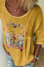 Casual Bus Print 3/4 Sleeves T-shirt