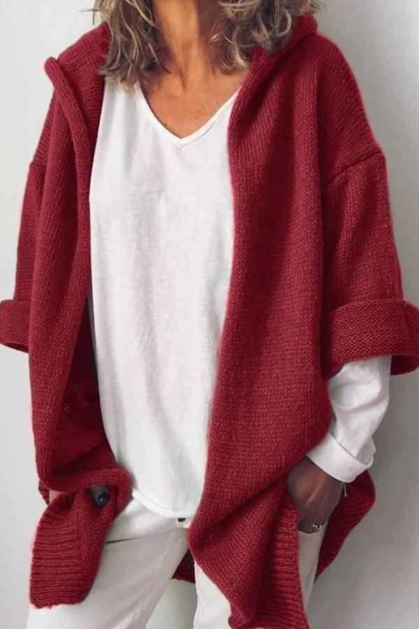 Solid Ribbed Casual Hooded Knitted Cardigan