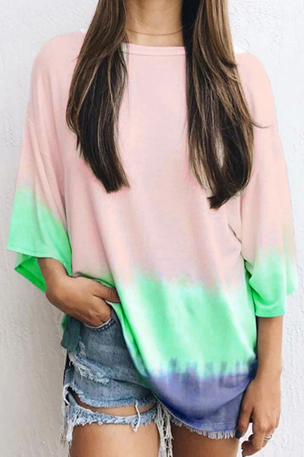 Gradient Print 3/4 Sleeves Casual T-shirt