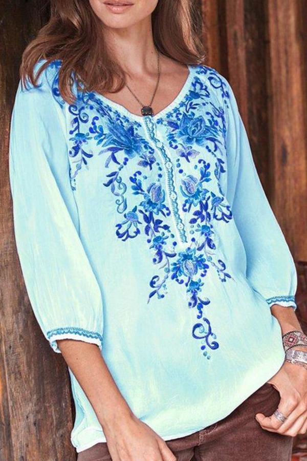 Floral Print V-neck 3/4 Sleeves Casual Blouse