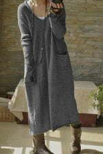 Paneled Solid Side Pockets V-neck Sweater Dress