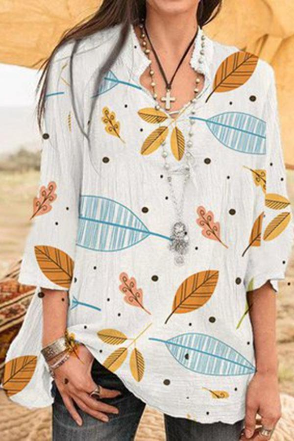 Leaf Print 3/4 Sleeves V Neck Casual Blouse