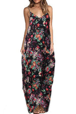 Bohemian Floral Print Irregular Holiday Maxi Dress