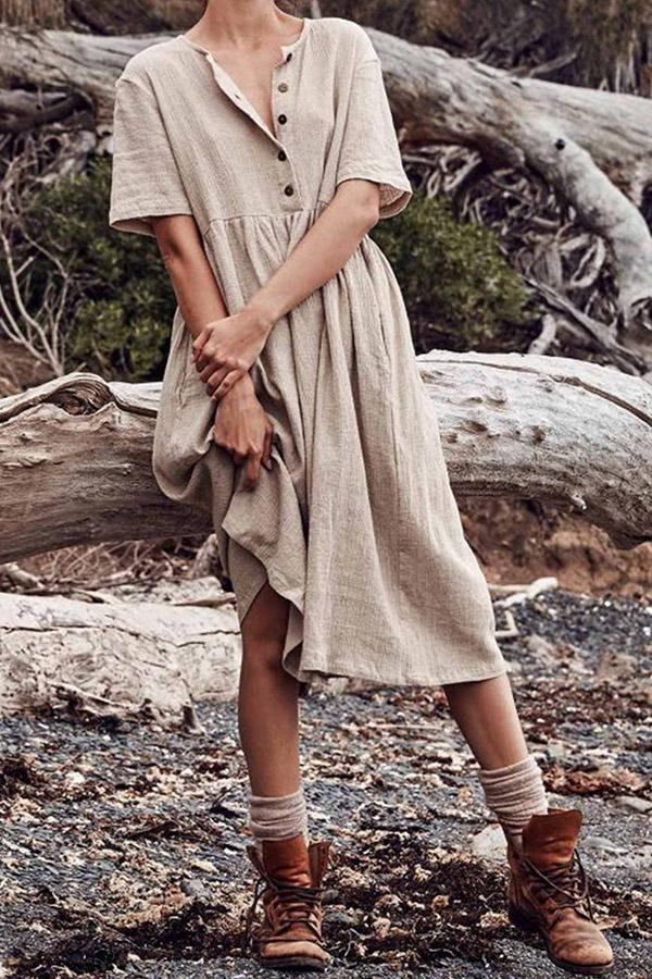 Casual Solid Button Short Sleeves Midi Dress