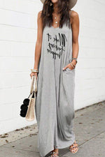 Letter Print Sleeveless V-neck Casual Maxi Dress