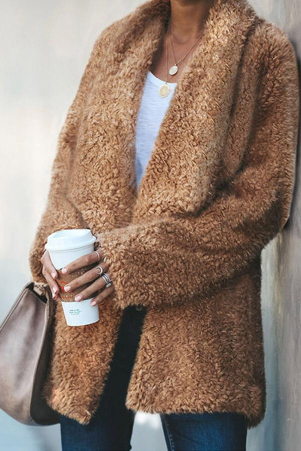 Fluffy Long Sleeves Lapel Solid Coat