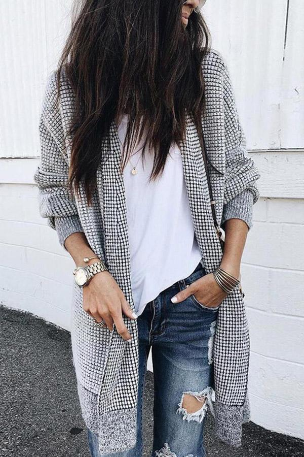Casual Long Sleeves Open Front Cardigan