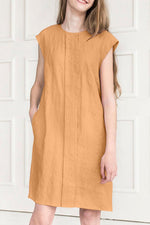 Paneled Solid Casual Pockets Midi Dress