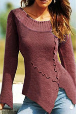 Solid Crew Neck Irregular Sheath Knitted Sweater
