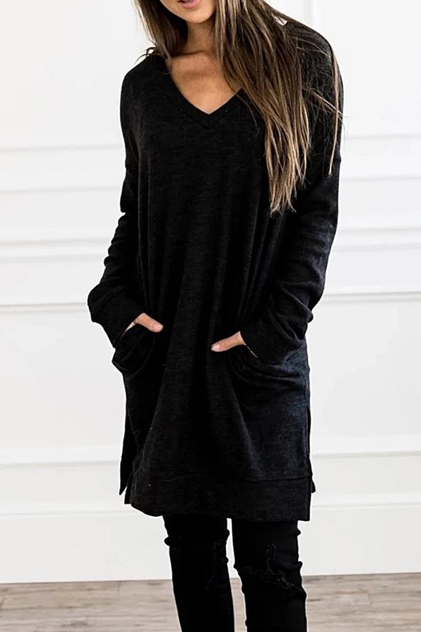 Casual Solid V Neck Slit Blouse