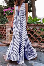 Striped Sleeveless Plunging Neck Maxi Dress
