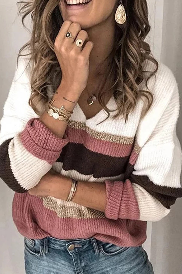 V-neck Striped Casual Knitted Sweater